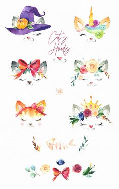 Cat Flowers, Girls With Flowers, Floral Flowers, Floral Watercolor, Watercolor Paintings, Watercolour, Flower On Head, Corona Floral, Babyshower