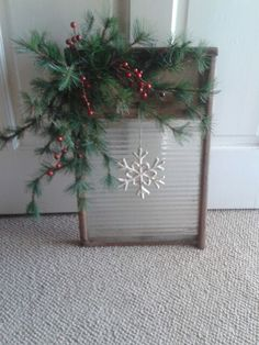 Antique washboard christmas decor #lovedbythethornes