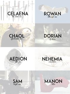 """captainwcstfall: """"Throne of Glass Series by Sarah J. Maas - Name Meanings """""""