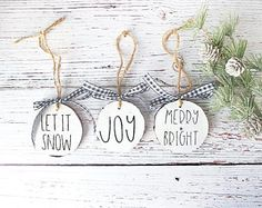 Farmhouse Christmas - Christmas Ornament - Farmhouse Decor - Christmas Decorations - Handmade Ornaments - Christmas Decor