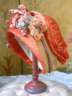 ~~~ Wonderful Antique French Silk Velvet Doll Bonnet ~~~
