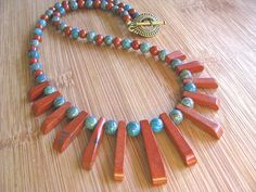 Blue Sky and Red Jasper Fan Necklace by joyaslindas3 on Etsy, $49.99