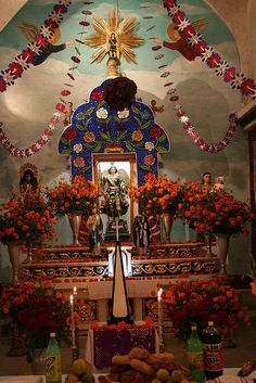 Tepoztlan, Dia de los Muertos~little Church with ofrenda. Image c. Rainycity, https://www.facebook.com/media/set/?set=a.10151514554312069.1073741827.559037068  pe=1=4968af4286