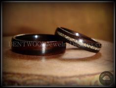 Bentwood Rings - Macassar Ebony Wood Rings with Glass Inlay using my bentwood process for very durable wood ring.