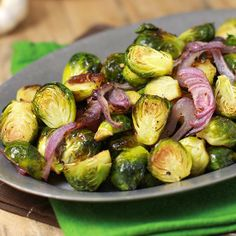 Brussels sprouts, red onion, garlic, olive oil, salt & pepper come ...