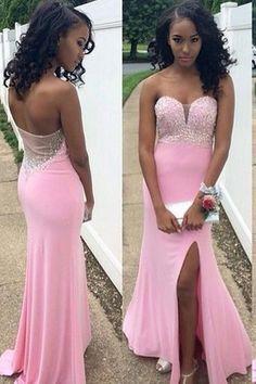 pink prom dress, long prom dress, side slit prom dress, strapless prom dress, charming evening gown, BD49 #fashion#promdress#eveningdress#promgowns#cocktaildress