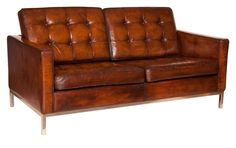Midcentury Sofa in Havana Leather by Florence Knoll c.1960
