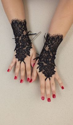 Black lace gloves french lace bridal wedding by WEDDINGGloves, $30.00