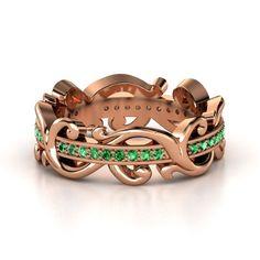 18K Rose Gold Ring with Emerald | Atlantis Eternity Band | Gemvara