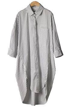 Stripe Asymmetrical Half Sleeve Shirt