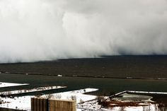 A wall of lake-effect snow blows across Lake Erie into Buffalo, New York, on November 18.