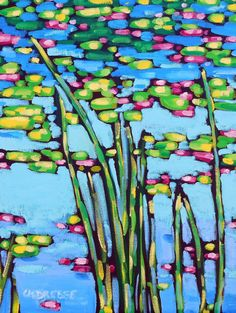 Signed  Print Waterlilies painting by artist by dreesefineart