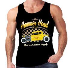 Velocitee Mens Vest Hammerhead Hot Rat Rod Rockabilly Yellow Deuce Coupe W17054 #Velocitee