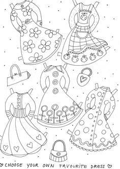 pretty paper doll dresses to color and print - Pretty Pictures To Color