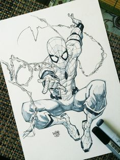 Spiderman Homecoming by rogercruz on DeviantArt Spiderman Tattoo, Spiderman Drawing, Spiderman Art, Amazing Spiderman, Superhero Sketches, Drawing Superheroes, Marvel Drawings, Cool Drawings, Comic Books Art