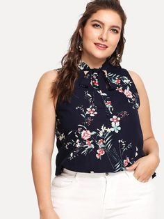 cb70b00957c Sleeveless Tied Neck Floral Blouse -SheIn(Sheinside) Plus Size Blouses