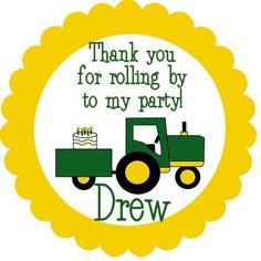 John Deere Tractor Birthday Party Label Cupcake Topper Printable DIY. $5.00, via Etsy.