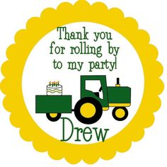 John Deere Tractor Birthday Party Label Cupcake by sassypaperie, $5.00