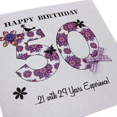 Handmade 50th Vintage Birthday Card - 'Happy Birthday... Congratulations!' Buy Here: http://thehandcraftedcardcompany.co.uk/cardcrafts/7792-vintage-party.asp?refid=7818