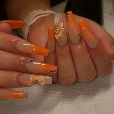 Acrylic Nails Coffin Pink, Fall Acrylic Nails, Coffin Nails, Gel Nails, Orange Nail Designs, Cute Acrylic Nail Designs, Lemon Nails, Acylic Nails, Fire Nails
