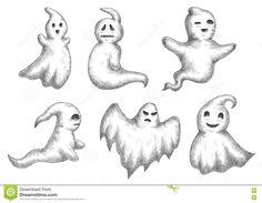 Cartoon Halloween Funny Ghots Icons Stock Illustration - Image ...