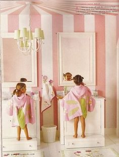 Kids bath w/ pink circus tent stripe walls. Don't like the striped ceiling much, but the idea of having a pull out drawer/step stool is wonderful. No more little stool to trip over! Little Girl Bathrooms, Bathroom Kids, Kids Bath, Shared Bathroom, Design Bathroom, Striped Ceiling, Striped Walls, Piece A Vivre, Pink Wallpaper