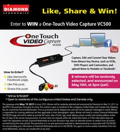 Enter to Win 2 of Diamond Multimedia One-Touch Video Capture VC500