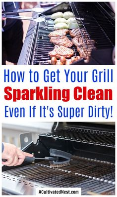 How to Clean Your Grill: Grill Cleaning It doesn't have to take ages to clean your gas or charcoal grill, if you know these tips! Here are all the best tips and tricks for how to clean your grill the easy way! Clean Grill Grates, Bbq Grates, Grill Cleaning, Household Cleaning Tips, Cleaning Hacks, Shower Cleaning, Floor Cleaning, Cleaning Solutions, Cleaning Products