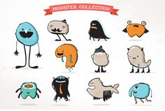 Cute monster and beast icons on Behance