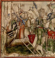 Miniature depicting Norwegian king Harald Hardrada (reigned (1046-1066) and his troops landing in York. Invasion wasn't too succesful since norwegians were defeated at the battle of Stamford bridge and Harald was killed. He has a pretty impressive...