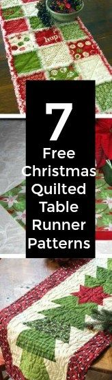 7 Quilted Christmas Holiday Table Runner Patterns If you are still searching for something to put the finishing touches on your Holiday table décor, then take a look at these 7 beautiful quilted table runners that we found. They are all simply st… Table Runner And Placemats, Table Runner Pattern, Quilted Table Runners, Christmas Sewing, Christmas Projects, Christmas Quilting, Christmas Holiday, Christmas Patterns, Christmas Runner