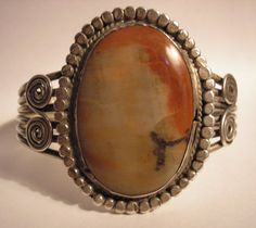 NAVAJO 30s PETRIFIED WOOD LANDSCAPE PICTURE AGATE STERLING SILVER CUFF BRACELET