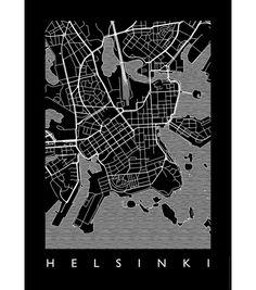 map-helsinki-juliste-50-x-70-cm-must Design Shop, Helsinki, Map, Movie Posters, Location Map, Film Poster, Maps, Billboard, Film Posters