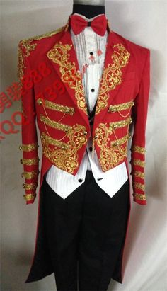 ilm Fit Red Best Man Suits Groom Tuxedos Tailcoat Men's Gold embroidery LAPEL  #Handmade #Tuxedo