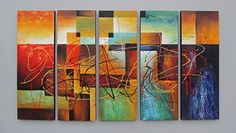 Gefii 100% Hand-painted Abstract Painting Wall Decor Landscape Paintings on Canvas 12x36 Inch X 5pcs/set Stretched and Framed Ready to Hang gefii http://www.amazon.com/dp/B00Q32GHTM/ref=cm_sw_r_pi_dp_IQLEvb04BCBJ5