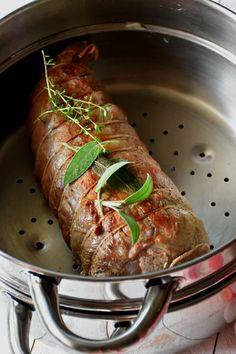 Roast beef al vapor con puré de limón