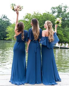 AMSALE is renowned for its exquisite simplicity & refined craftsmanship. See our full line of AMSALE bridesmaid dresses. Amsale Bridesmaid, Mismatched Bridesmaid Dresses, Blue Bridesmaids, Wedding Bridesmaid Dresses, Bridesmaid Inspiration, Wedding Inspiration, Wedding Ideas, Wedding Photos, Wedding Themes