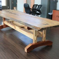 Reclaimed Live Edge Elm Table by Dwayne Tiggs Live Edge Furniture, Do It Yourself Furniture, Log Furniture, Furniture Projects, Timber Table, Slab Table, Wooden Tables, Trestle Table, Rustic Table