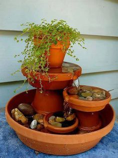 Flower pot fountain.