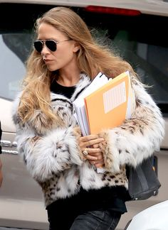 Mary-Kate Olsen Steps Out In A Print Fur Coat                              …