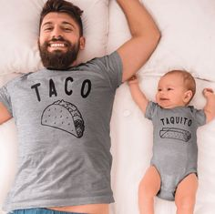 Taco - Taquito (Matching Set) Cole & Coddle Clothing Set Baby Club - online baby clothes stores where you can find fashionable baby clothes. There is a kid and baby style here. Baby Shirts, Dad To Be Shirts, Onesies, Father And Son Shirts, Fathers Day Shirts, Pregnancy Shirts, Baby Outfits, Mommy Baby Matching Outfits, Mom And Son Outfits