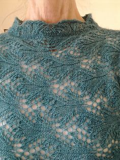 """I just found out that the stitch pattern is based on the classical """"Branched Fern"""" shown in Barbara Walker's Second Treasury. And I think I'll design another pullover with a..."""