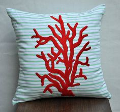 """embroidered coral pillow on fabulous ticking fabric - perfect for a nautical or """"under the sea"""" nursery - Red Coral Reef  Throw Pillow Cover  18 x 18 Linen by KainKain, $23.00"""