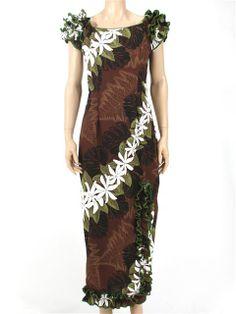 Brown tiare dress Hawaiian Wear, Hawaiian Fashion, Island Wear, Island Outfit, Different Dresses, Unique Dresses, Samoan Dress, Designer Dresses, Costumes