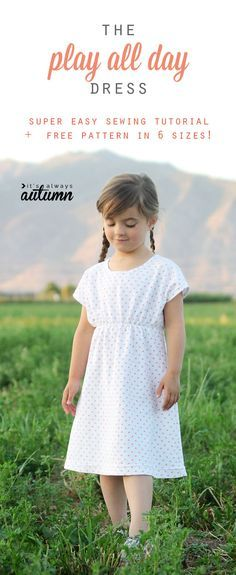 free sewing pattern for this easy girls' play dress pattern in 6 different…