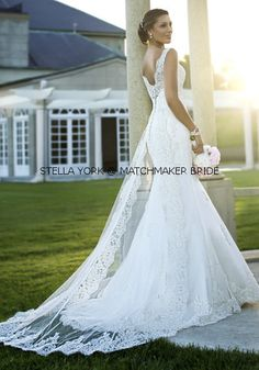 I literally think I just found my wedding dress! Fit and flare designer bridal  gown with romantic lace overlay from Stella York (Style d0cf7d9ae60d