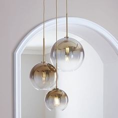 Sculptural Glass Round Globe Chandelier, S-M-L Globe, Gold Ombre Shade, Brass Canopy West Elm Chandelier, 3 Light Chandelier, Globe Chandelier, Glass Pendant Light, Modern Chandelier, Globe Light Fixture, Round Light Fixture, Bedroom Chandeliers, Glass Lamps