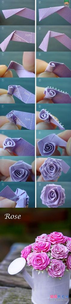 Gyönyörű rózsa origami tutorial bemutató részletes lépéseket