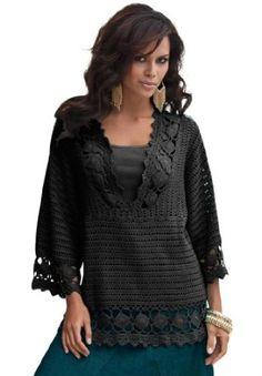 www.iwantobefitnow.tumblr.com/  Denim 24/7 Plus Size Crochet V-neck Tunic #Plus Size