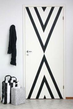 Porte décoré en masking tape pour une inspiration déco facile DIY